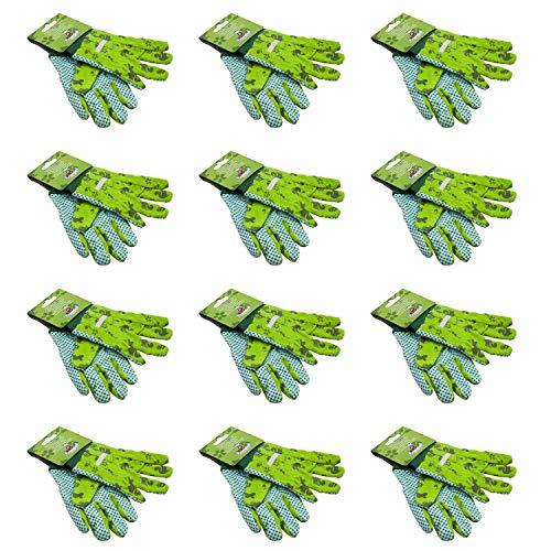 Esschert Design KG110 Kinder-Gartenhandschuhe, mit Noppen, Gemustert, grün (12 Paar)