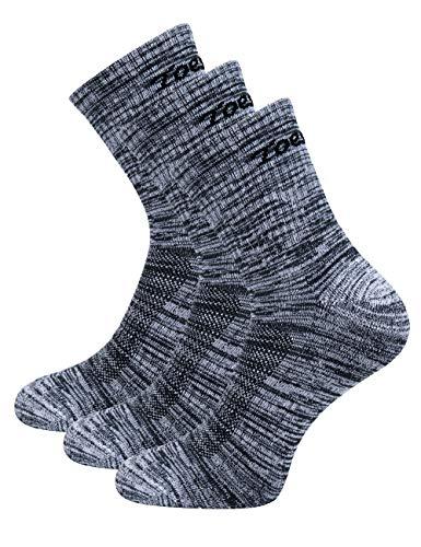 Toes&Feet Herren 3 Paar Anti Geruch Antimikrobielle Gepolsterte Blister Resist Quarter Crew Sportsocken, M, 3 Pair Grau
