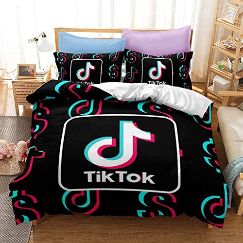 Tik Tok Theme Bettbezug, 3D Tik Tok Bettwäsche Set, Schlafzimmer Dekor Bettbezug und 2 Kissenbezüge, Geschenk für Jugendliche & Erwachsene,Schwarz/H / 135x200cm