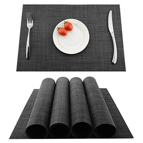 KOKAKO Platzsets(4er Set),Rutschfest Abwaschbar Tischsets,PVC Abgrifffeste Hitzebeständig Platzdeckchen,Schmutzabweisend und Waschbare,Platz-Matten für Küche Speisetisch,Dunkel Grau