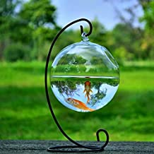 Bestim Incuk Round Shape Hanging Glass Aquarium Fish Bowl ,Home Decoration With 12cm Height Rack Holder