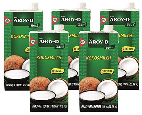 Aroy-D - Kokosmilch - 5er Pack (5 x 1 Liter)