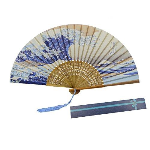 Kakoo seta pieghevole fan giapponese Kanagawa Sea Waves modello bambù palmare fan danza per cosplay festa di nozze puntelli Home Office parete fai da te Decorazione