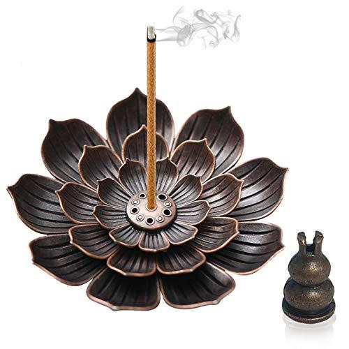 3-in-1 Brass Incense Stick Holder 5 Holes Lotus Stick Incense Burner Incense Holders For Sticks With 1 Coil Cone Copper&1 Cone Copper Detachable...