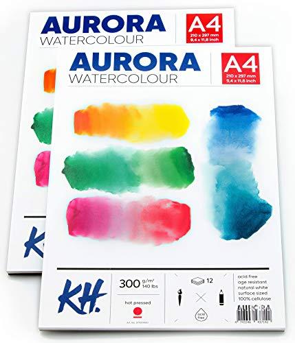2 x Aquarellpapier A4 Watercolor Paper – Aquarell Papierblock Heißpresspapier 300g - Aquarelle Papier Block Wasserfarben