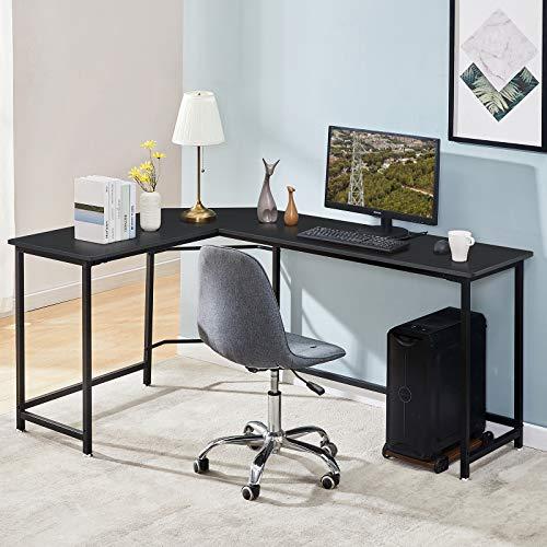 Symylife Eckschreibtisch Büro Schreibtisch für zu Hause L-förmiger Computertisch Großer PC Laptop Workstation Spieltisch für zu Hause, L168 * D120 * H75CM, Schwarz
