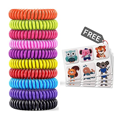Mosquito Bracelet 20 Pack with 4 Patches, Waterproof Bug Repellent Wrist Bands, Fit for Kids & Adults, Natural Ingredients and Deet-Free,pest Control, Safe Indoor Outdoor Protection