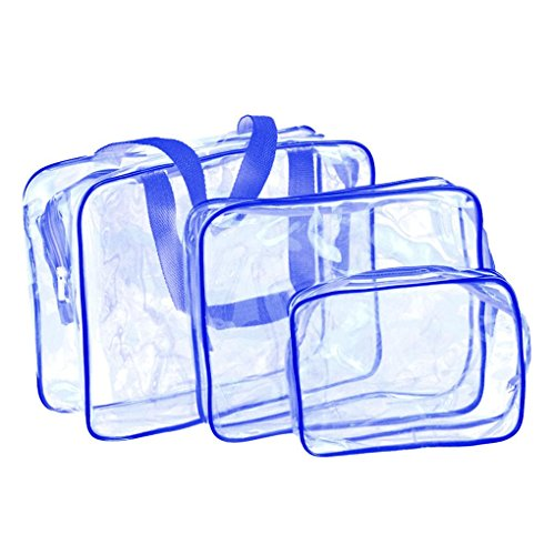 kingko® Trousse de maquillage/Fournitures Voyage Doit-Transparent Materproof Sac pochette cosmétique Wash Bath (Bleu)
