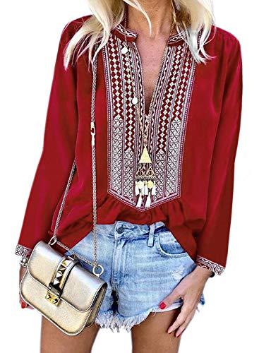 Asvivid Damen Bluse mit V-Ausschnitt, Bestickt, Blumenmuster Gr. 42-44, rot