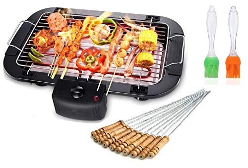 Friza Electric Barbecue Grill Machine MultiPurpose Household Outdoor Double Electric Oven 2000W Barbecue with 12 Pcs Barbecue Stick and Spatula & Oil Brush - Black