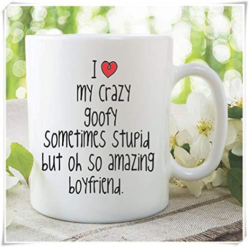 Novedad Divertida Taza Amo a mi novio Taza Regalo de cumpleaños Regalo de Navidad Humor para adultos San Valentín Sorprendente Novio Taza de café 11 oz Taza de café de cerámica Taza de té
