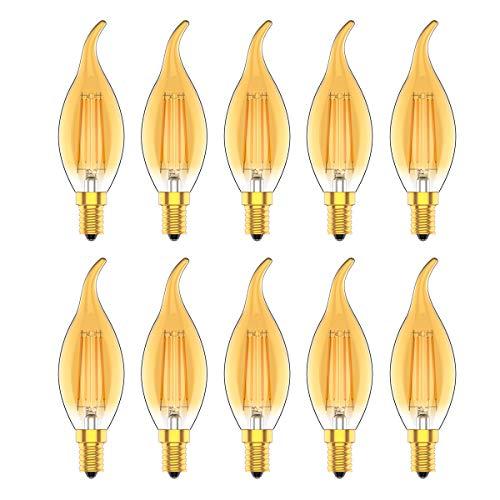 Ampoules Bougies E14 LED Dimmable, Ampoule Edison Filament,4W Equivalent 30W, 220-240V, Blanc Chaud 2700K,Verre Ambré,Lot de 10 pièce