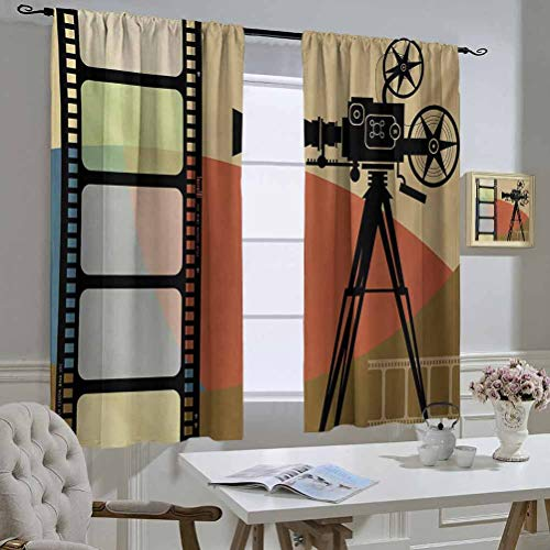 Movie Theater Best Home Fashion Thermal Insulated Blackout Curtains Abstract Retro Style Colorful Composition with Projection and Strip Border Adjusting The Scene Outside The Window 63x72 Inch Multic
