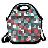 Bolsa de almuerzo para hombres bolsa de almuerzo almuerzo almuerzo bolsa de comida geometría negro y rojo blanco azul cruz cuadrada lindo