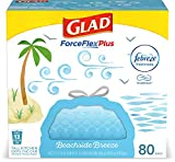 Glad ForceFlexPlus Tall Kitchen Drawstring Trash Bags - 13 Gallon Trash Bag, Febreze Beachside Breeze - 80 Count (Package May Vary)