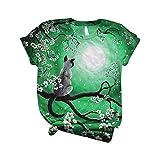 Camiseta de manga corta para mujer, diseño de gato con estampado de manga corta y cuello redondo verde L