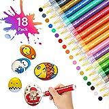 Oladwolf Acrylstifte Marker Stifte, 18 Farben Premium Wasserfest Paint Marker Set, Schnelltrocknend Permanent Steine Bemalen Acrylfarben für Stein, Glas, Holz