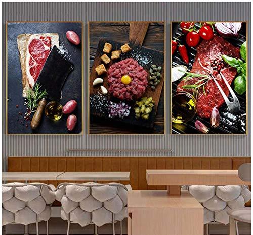 Dlfalg Steak Poster Canvas Kunst Verleidelijke Voedsel Muur Kunst voor Eetkamer Restaurant Ableau Decoratie Salon Home Decor- 40 * 60Cm*3 Niet ingelijst
