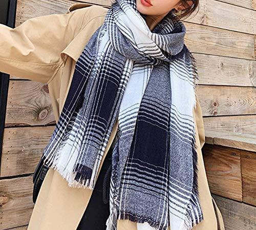 Sjaal voor herfst en winter, kleurverloop, ruiten, wild, dik, lang, warm, kasjmier-sjaal, grijs