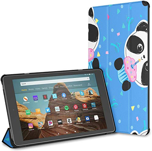 Case for All-New Amazon Fire Hd 10 Tablet (7th and 9th Generation,2017/2019 Release),Slim Folding Stand Cover with Auto Wake/Sleep for 10.1 Inch Tablet, Happy Panda Holiday Cake