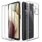 LK Cover Compatibile con Samsung Galaxy A12/A12 Nacho Custodia, 2 Pezzi Pellicola Protettiva in Vetro Temperato & 2 Pezzi Pellicola Fotocamera, Morbido TPU Protezione Case-Trasparente