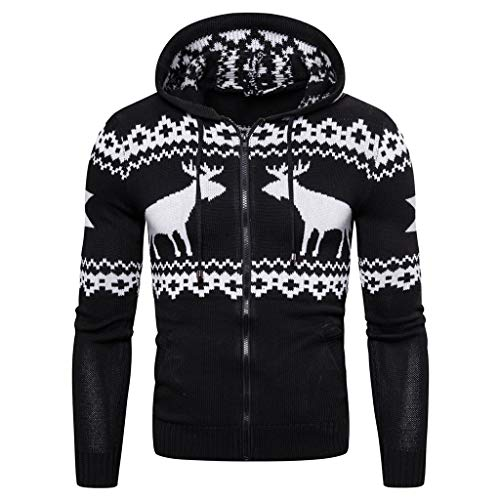 Buy Discount Mens Casual Christmas Sweater, Full Zip Reindeer Print Kangaroo Pocket Knitted Hoodie (...