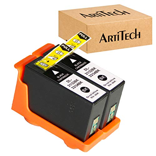 ARTITECH Replace for Dell Series 31 32 33 34 Black Ink cartridges Work for Dell V525W, V725W Printers All-in-One Wireless Inkjet Printer, 2 Pack for Dell Ink Cartridge Series 31 Black