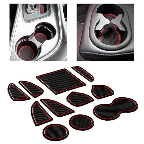 CupHolderHero for Dodge Challenger Accessories 2015-2022 Premium Custom Interior Non-Slip Anti Dust Cup Holder Inserts, Center Console Liner Mats, Door Pocket Liners 11-pc Set (Red Trim)