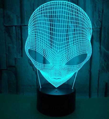 3d lampara de la noche Lámparas de decoración Alien multi-dimensional para sala de estar, cama, bar, regalo juguetes para niños y niñas Con interfaz USB, cambio de color colorido
