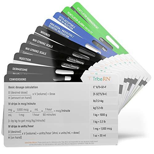 ICU ER BadgeGuru Set by Tribe RN - 10 ICU Nursing Badge Reference Cards Designed for ER, ICU, Emergency Nurses, Paramedics and EMTs (ICU)