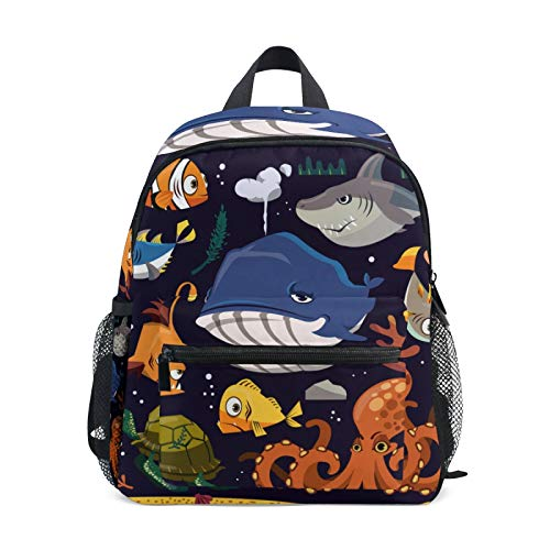 Backpack for Boys and Girls Mini Backpack Travel Bag with Chest Clip Funny Marine Life Collection Different Creatures