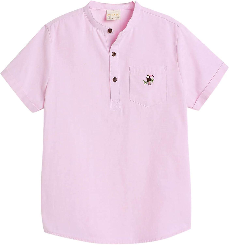 M.D.K Boys Short Sleeve Tropical Bird Embroidery Pocket Button Collar Shirt