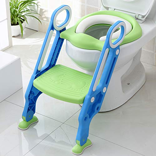 Wiifo Potty Training Seat with Step Stool Ladder for Kids and Toddler, Sturdy Potty Ladder with Soft Padded Cushion for Toddler Boys and Girls,Toddler Toilet Training Seat Chair(Blue Green)