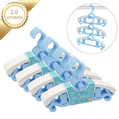 Zebricolo Kleiderbügel Kinder Baby 20er Set Ausziehbarer Kunststoff Platzsparende rutschfest Baby Kleiderbügel für Baby Jungen Mädchen Erwachsene Rosa Blau+Blau