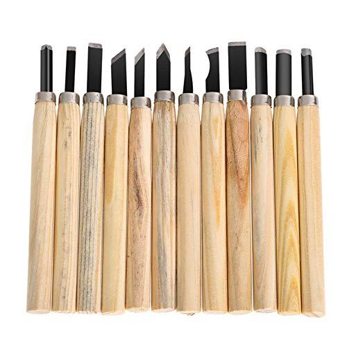 JFJL 12 Set Professionnel en Acier Au Carbone en Bois Sculpture Carving Ciseaux Kit De Couteaux pour Bricolage Sculpture Charpentier Débutants Et Experts