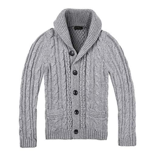 BOTVELA Men's Shawl Collar Cardigan Sweater Button Front Solid Knitwear (S, Medium Grey)