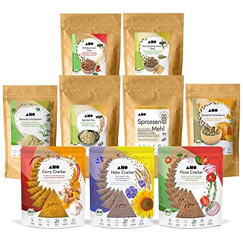 AHO Kennenlern Paket | Mit allen AHO Produkten zum Probieren | 9 Tüten = 2,7 kg | Bio, Vegan und Plastikfrei