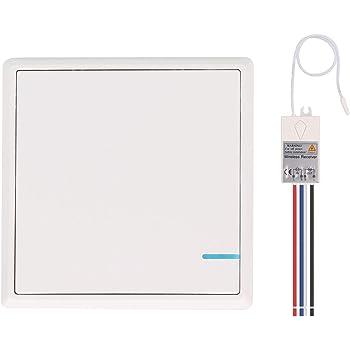 Mengshen Kit De Interruptor De Luces Inal/ámbrico 1 Interruptor De Una Unidad No Requiere Cableado F/ácil De Instalar 1 Receptor