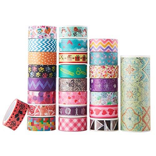AUFODARA 25 rouleaux Washi Tape Masking Tape Rubans Adhésif Papier Décoratif Bandes Scrapbooking (25pcs / set)