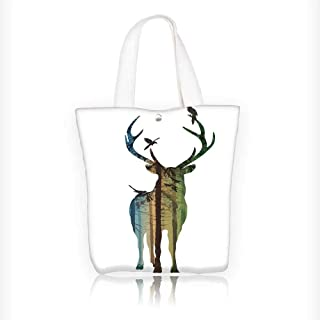 08d0bedbf8dba Women's Canvas Tote Bag, deer silhouette with birds in coniferous forest  with rays of the