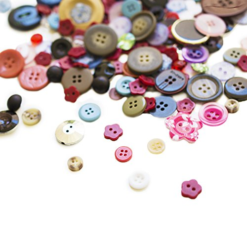 Scrambled Assortment Bag of Buttons for Arts & Crafts, Decoration, Collections, Sewing, and more! Different Colors and Size from 3/8