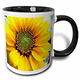 3dRose mug_62400_4'Painted Sunflower' Two Tone Black Mug, 11 oz, Multicolor