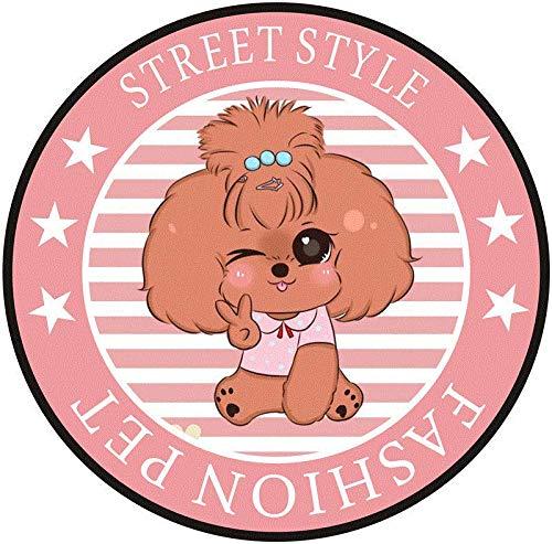 Runder Teppich des Niedlichen Cartoon-Schoßhund-Bodenkissenrosa GuestTeddy Schweizer (Color : Teddy, Size : 100CM Diameter)