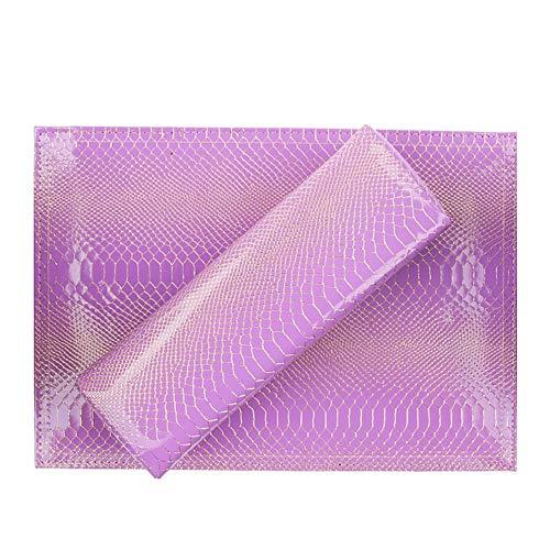Nail Shop Professional Oreiller Main Serpent Modèle PU Cuir En Cuir Imperméable À L'eau Et À La Sueur Carré Repose-Main,purple