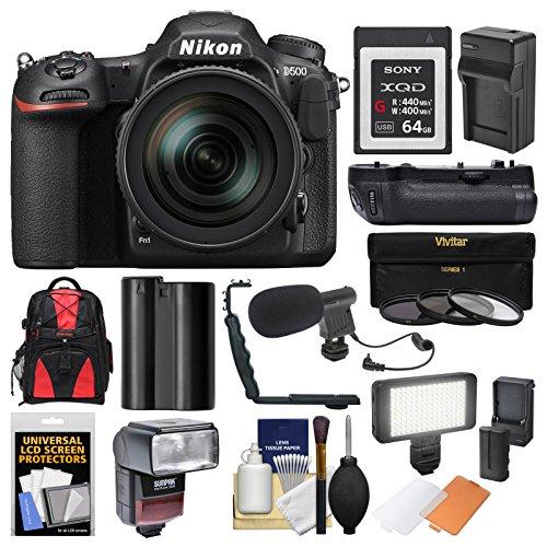 Nikon D500 Wi-Fi 4K Digital SLR Camera & 16-80mm VR Lens with 64GB XQD Card + Case + Flash + Battery/Charger + Grip + 3 Filters + Mic + Kit