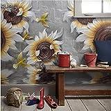Peintures Murales 3D Relief Tridimensionnel Toile De Fond De Télévision De Franchise De Fleur De Tournesol Fait Sur Commande Grand Papier Peint Non-Tissé-250cmx175cm