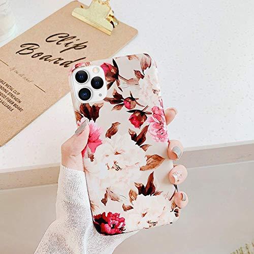 Saceebe Compatible avec iPhone 11 Pro Coque Fleur Feuilles Dessin Antichoc TPU Housse de Protection Silicone Motif Souple Etui Antichoc Ultra Mince Fine Housse Bumper,Pivoine