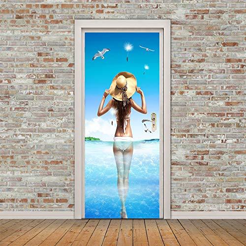 MTXIAOBAOZI Deur Stickers, 3D Stickers Voor Binnendeuren Mooie Bikini Meisjes In Het Water Vliegende Seagulls Zelfklevende Muren Voor Deuren Deur Renovatie Muur Art Stickers Voor Woonkamer Slaapkamer Large
