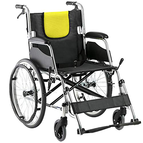 "yuwell Wheelchair Lightweight Self-Propelled Transport Chair with Dual Brake, 17.5"" Seat, 27.5lbs"
