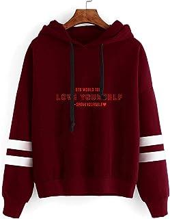 Flyself Unisex Kpop BTS Hoodie Bangtan Boys BTS Sport Casual Chic Striped Sleeves Jumper Sweatshirt for Army